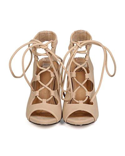 Delicious Eg48 Mujeres Nubuck Peep Toe Gilly Tie Sandalia De Estilete Con Suela Única - Avena