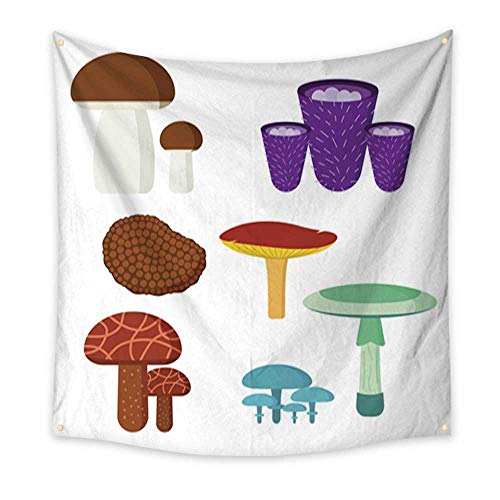 Wall Hanging Tapestry Mushrooms for cook food and poisonous nature meal vegetarian healthy autumn edible and fungus organic vegetable raw ingredient vector illustration large tableclot 32W x 32L -