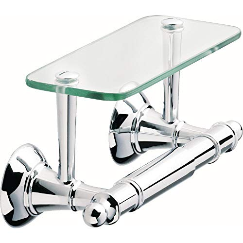 Delta Toilet Paper Holder with Glass Shelf in Polished - Chrome Paper Glass Toilet Holder