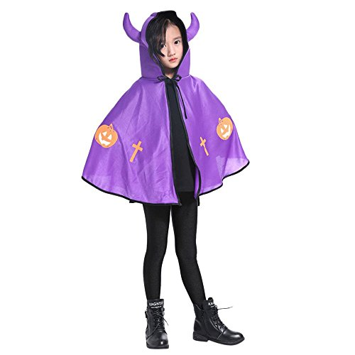 Birdfly Halloween Costume Demon Costumes Devil Cloak for Kids or Young Girls Boy Clearance (one Size, Purple) -