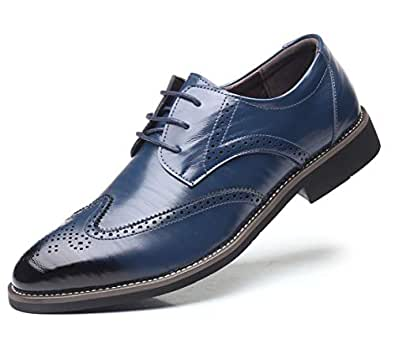 DADAWEN Men's Classic Brogue Formal Oxford Wingtip Lace-Up Dress Shoes Blue Size: 6 US