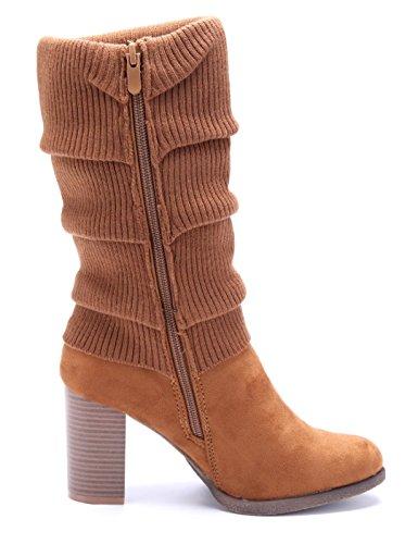 Schuhtempel24 Damen Schuhe Klassische Stiefeletten Stiefel Boots Blockabsatz 9 cm Camel