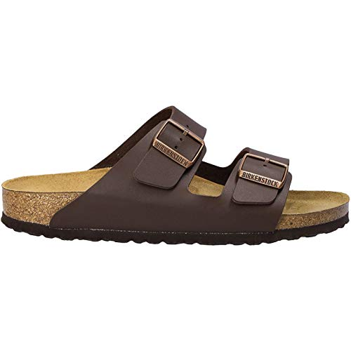 Birkenstock BIRK-51703 Arizona Sandals, Dark Brown Birko Flor, 38
