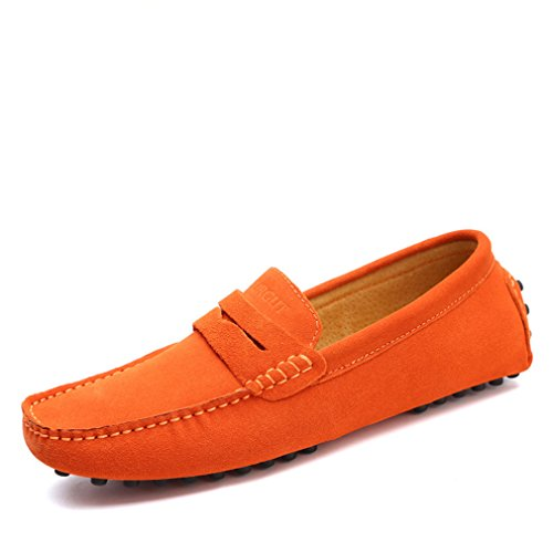 Scarpe morbidi Driving vera Mocassini Estate Orange Uomo Style Uomo Flats Mocassini in Moda Shoes pelle xw4gqpC