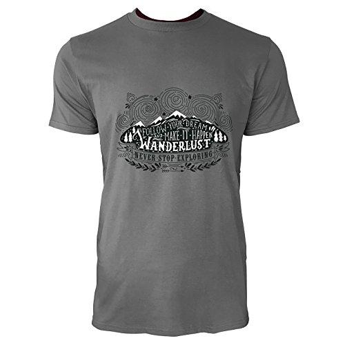 SINUS ART® Wanderlust Zeichnung Never Stop Exploring Herren T-Shirts in Grau Charocoal Fun Shirt mit tollen Aufdruck