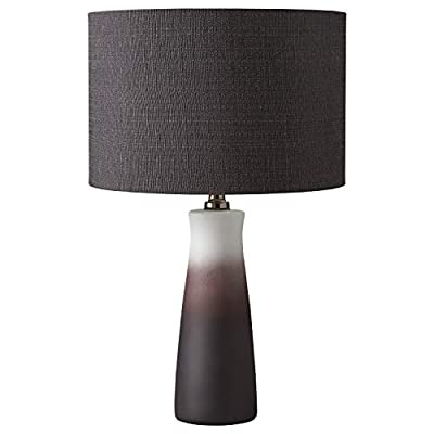 "Rivet Modern Ceramic Base and Fabric Drum Shade Table Lamp with Bulb, 19.25""H, Black and White"