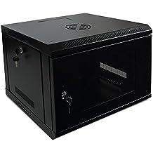 Makom 6, 9, 12, 15 & 18U WallMount Network Equipment Server Data Cabinet Enclosure Rack Glass Door Locking Keys
