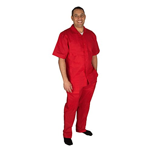 Vittorino Men's 100% Linen 2 Piece Walking Set with Long Pants and Short Sleeve Shirt, Red, Medium ()