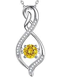 November Birthstone Citrine Necklace Sterling Silver Swarovski Pendant Jewelry Birthday Gifts for Her
