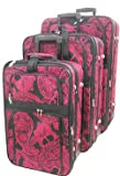 3 Piece Rolling Luggage Set Paisley Print Hot Pink (Hot Pink), Bags Central
