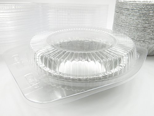 5'' Disposable Pot Pie/Pie Pans/Individual Dessert Pans With Clear Clamshell containers- Quantity Pack Options (100) by Safca (Image #1)