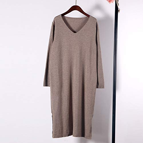Camel Cxlyq Dresses V Neck Solid Loose Long Knitted Dress Sweater Women Long Sleeve Oversize Jumper Solid Runway Fall Winter Dress
