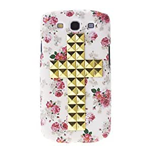 Gold Rivet Crucifix Pattern Hard Back Cover Case for Samsung Galaxy S3 I9300
