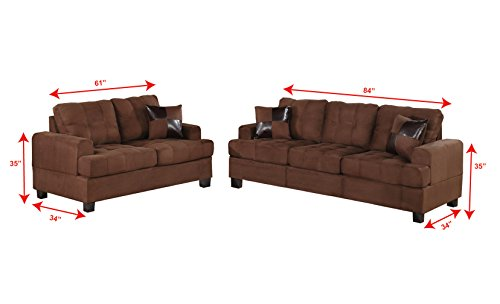 Poundex Bobkona Arcadia Microfabric 2-Piece Sofa and Loveseat Set, Chocolate