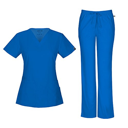 Drawstring Scrub Top (Cherokee Women's Workwear Flex With Certainty V-Neck Top 44700A & Mid Rise Moderate Flare Drawstring Pant 44101A Scrub Set (Antimicrobial) (Royal - Medium))