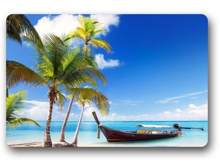 Custom Beach Theme Palm Tree Boat Blue Sky Fabric Machine Wahable Non Woven Doormat Indoor Outdoor