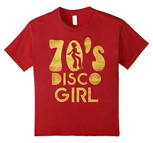 Kids 70's Disco Girl T-Shirt - Seventies Halloween Tee 8 Cranberry
