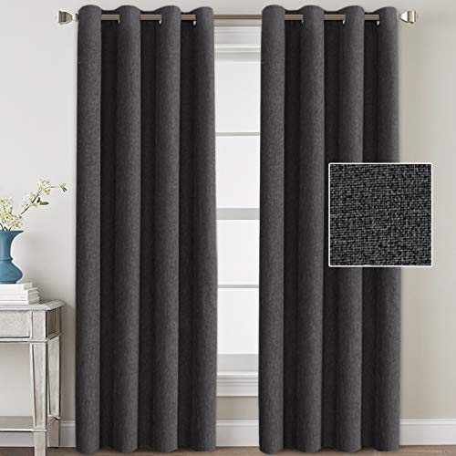 HVERSAILTEX Linen Blackout Curtains 84 Inches Long Room Darkening Heavy Duty Burlap Efffect Textured Linen Curtains/Draperies/Drapes for Living Room Bedroom  Charcoal Gray 2 Panels