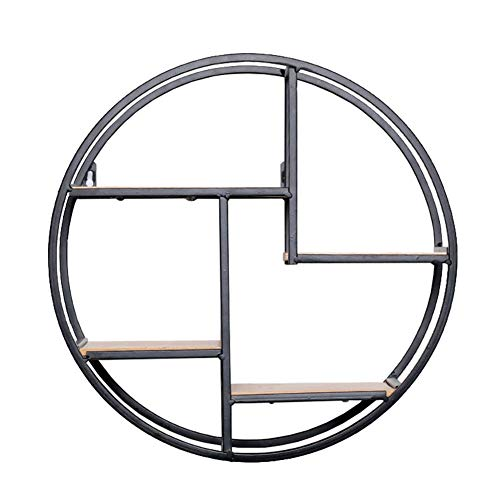 Exing Flower Stand, Creative Home Solid Wood Wall-Mounted Flower Stand Iron Wall Shelf Retro Round Wall Flower Stand Background Wall Decoration