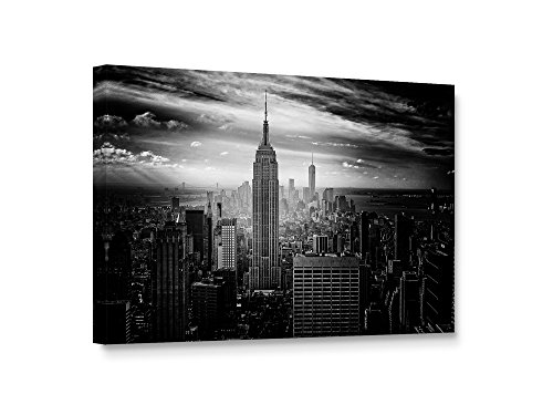 Niwo Art (TM - New York Skyline, Giclee Wall Art for Home Decor, Gallery Wrapped, Stretched, Framed Ready to Hang (New York Single)