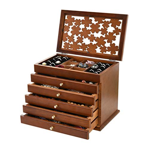 Welcare 100% Solid Wooden Jewelry Box Case