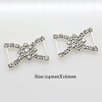 XINXI ShiPin 30pcs 2416mm Silver Double D-shaped Rhinestone Buckle Slider for Wedding Invitation Letter Christmas Buckles