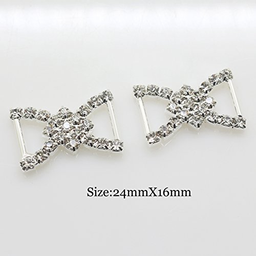 (XINXI ShiPin 30pcs 2416mm Silver Double D-shaped Rhinestone Buckle Slider for Wedding Invitation Letter Christmas)