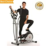 Anfan Vertical Climber Exercise Climbing Machine Fitness Cardio Workout Trainer for Home Gym (Elliptical-Black Red)