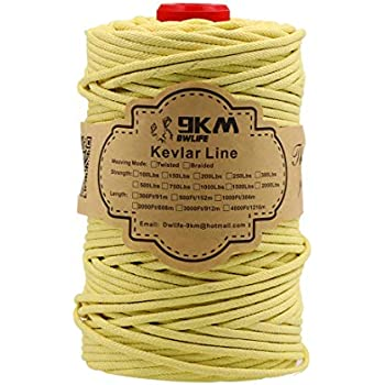9KM DWLIFE Kevlar Line Huge Model Rocket Paracord Cord High Strength No-Stretch Kevlar Fishing Assist Line Camping Hiking Survival Rope Outdoor-Braided 750Lbs 300Ft 2mm Dia