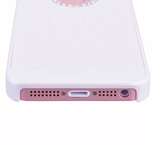 GrandEver Custodia Rigida per iPhone 5 iPhone 5S iPhone SE, UltraSlim Dura PC Protettiva Cover Bumper, Glitter Bling Hard Protettivo Durable Case con Diamanti Back Case Copertura - Bianco