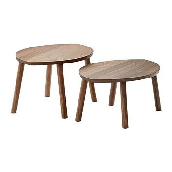 Ikea Stockholm Satz Tisch Set Mit 2 Walnussfurnier Amazon De
