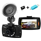 caRmeRa Car Dashcam Camera DVR Dashboard 1080P Full HD Video Recorder With Backup Rearview Camera with 140°Wide Angle Night Vision G-sensor With 8GB Micro SD Card And With Memory Card Reader