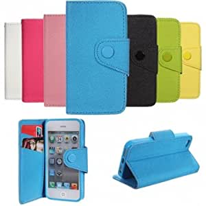 Folio PU Leather Wallet Case Cover With Card Slot Stand For iPhone 5 --- Color:Yellow