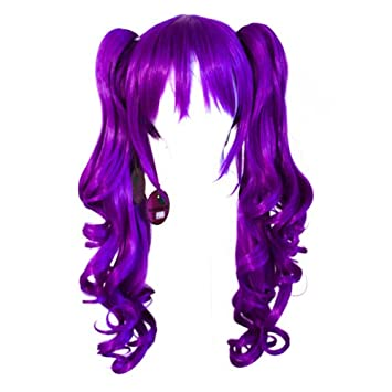 Base Indigo Purple Cosplay Wig NEW 23/'/' Curly Pig Tails