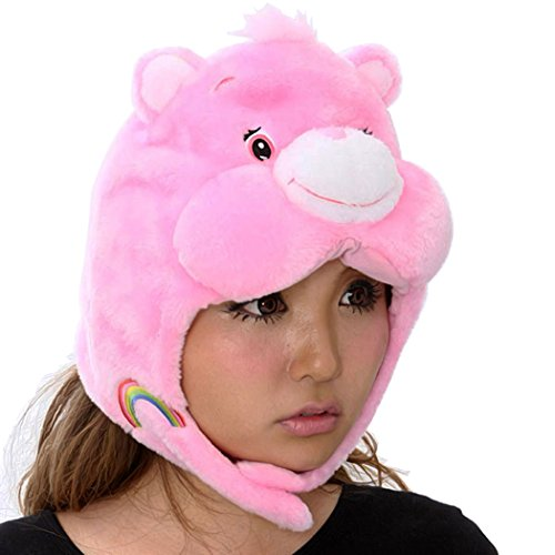 3D Care Bear Cheer Bear Costume Hat Kigurumi Cap Cheer Bear Plush (Adult Care Bears Cheer Bear Costume)