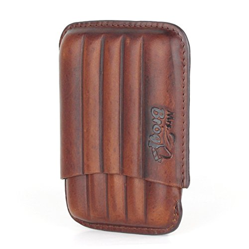 Leather Cigar Case - Two Tone Aniline Leather - [Tan]