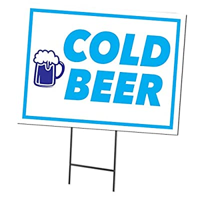 "Cold Beer | Double Sided Sign with Metal Ground Stakes | Full Color | 24""w x 18""h from Accent Printing & Signs"