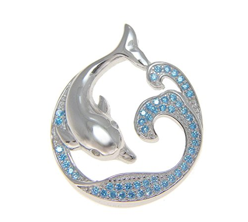 925 Silver rhodium genuine blue topaz Hawaiian ocean wave dolphin slider pendant