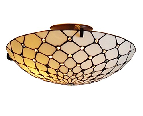 Amora Lighting AM030CL17 Tiffany Style Ceiling Fixture Lamp 17 In Wide
