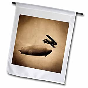 Scenes from the Past Vintage Photographs - The Graf Zeppelin Approaching New York City Photograph Sepia - 12 x 18 inch Garden Flag (fl_77352_1)