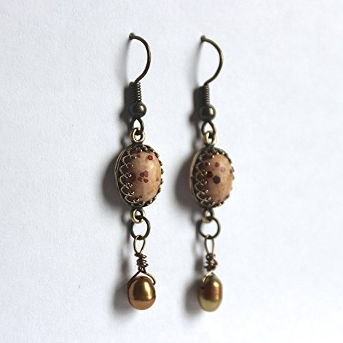 Speckled Tan and Olive Green Pearl Dangle Earrings with Antique Brass Findings (Tan Speckled)