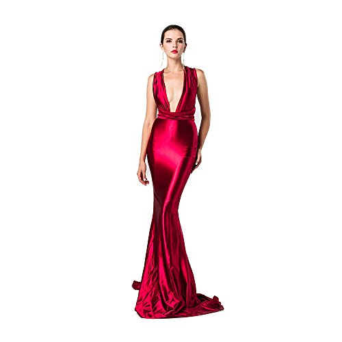 (Miss ord Women Sexy V Neck Sleeveless Long Halter Party Dress Red Medium)