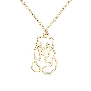 TUSHUO Simple Panda Necklace Hollow Panda Pendant Necklace Charm Panda Jewelry