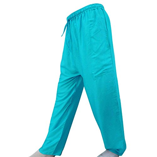 Los Pantalones Elásticos De La Cintura De Bohemia De Las Bragas De Algodón Pantalones De Yoga Harem Pantalones Casual Turquesa