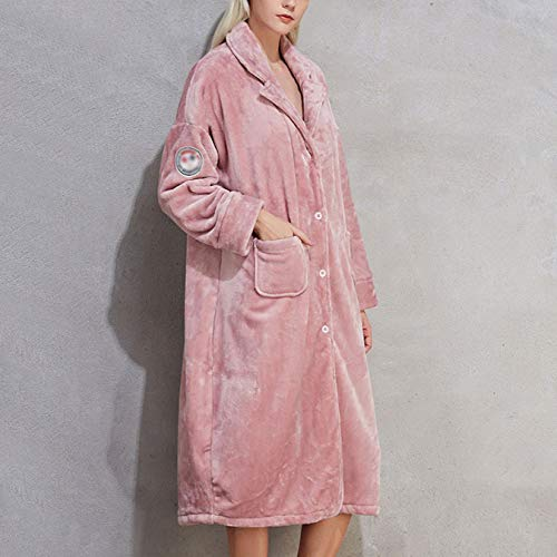 Da Luxury Camicia Dressing Accappatoio Inverno Ladies Allentato Robe Notte Pink Gown Housecoat Super Soft Caldo Button Asciugamano Flanella Large Size qwq6gZX