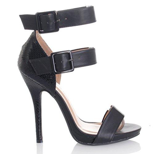 Women's Multi Color Block Snake Skin Metal Buckle Ankle Strap Studed Stiletto Heels Sandals BKPU 8