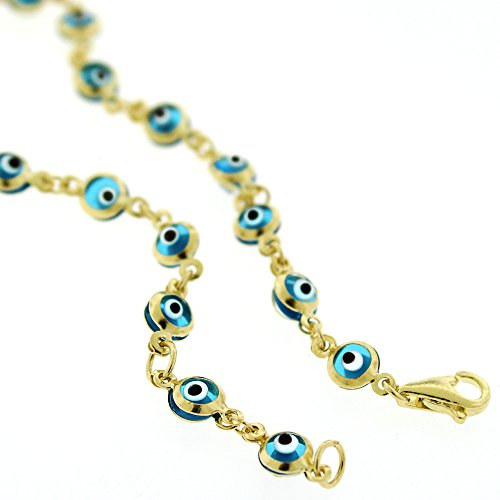 14k Yellow Gold Childrens 4mm Baby Blue Evil Eye Bead Good Luck Charm Bracelet Chain 6'' by In Style Designz