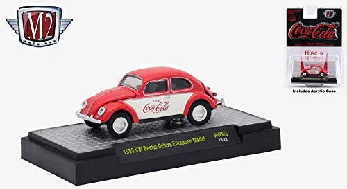 M2 Machines 1953 VW Beetle Deluxe European Model Limited Edition Coca-Cola Release RW03H - 2018 Castline Hobby Edition 1:64 Scale Die-Cast Vehicle Set (RW03 18-22)