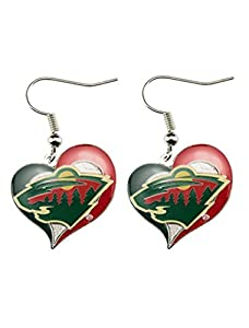 Minnesota Wild Swirl Heart Earring NHL Dangle Logo Charm Gift
