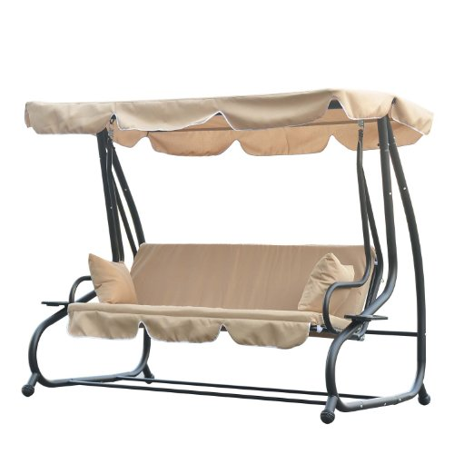 OUTSUNNY SWINGING 3 SEATER GARDEN HAMMOCK SWING SEAT CHAIR BENCH LUXURY +2 FREE PILLOWS